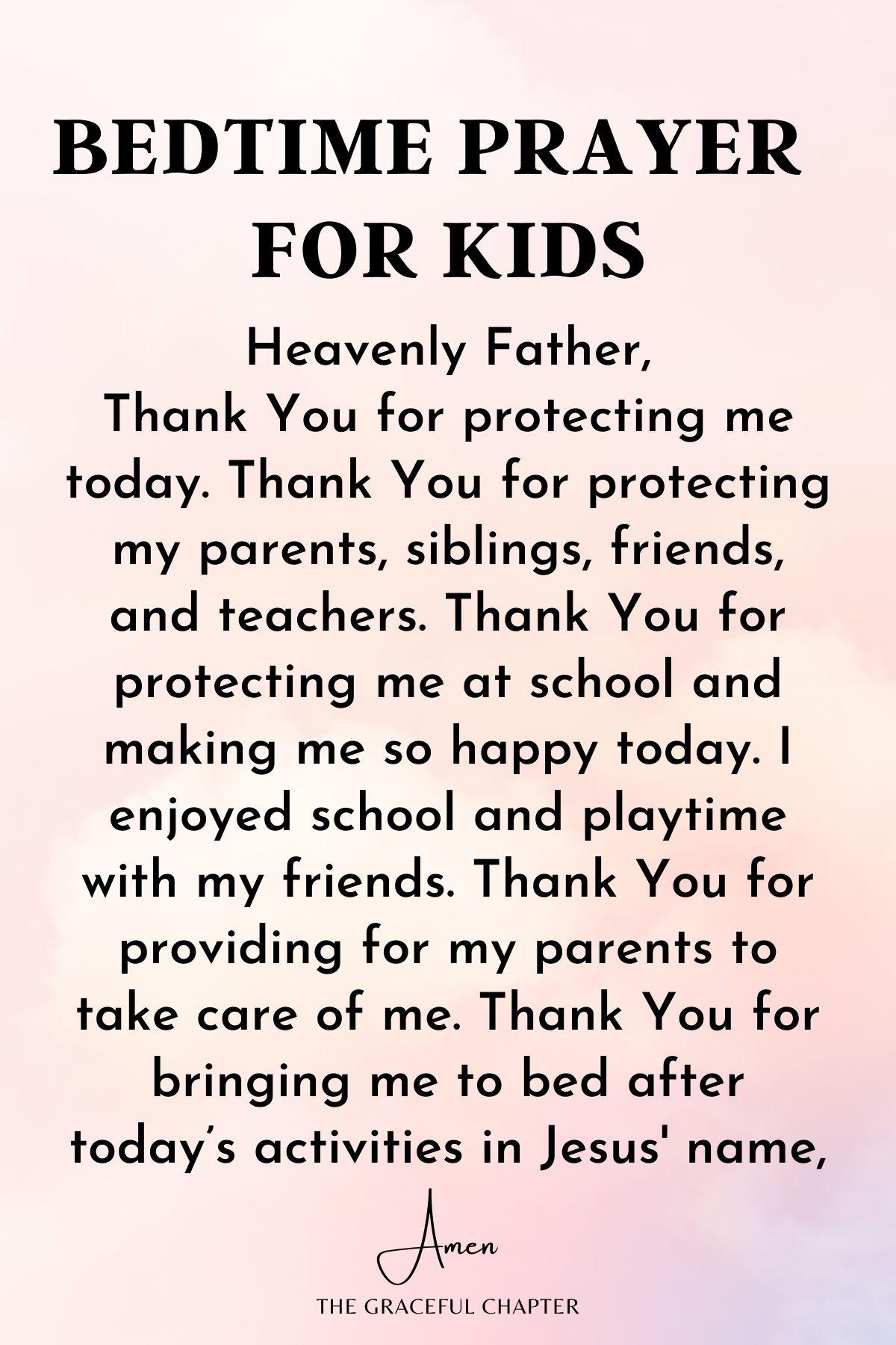Short bedtime prayers for kids
