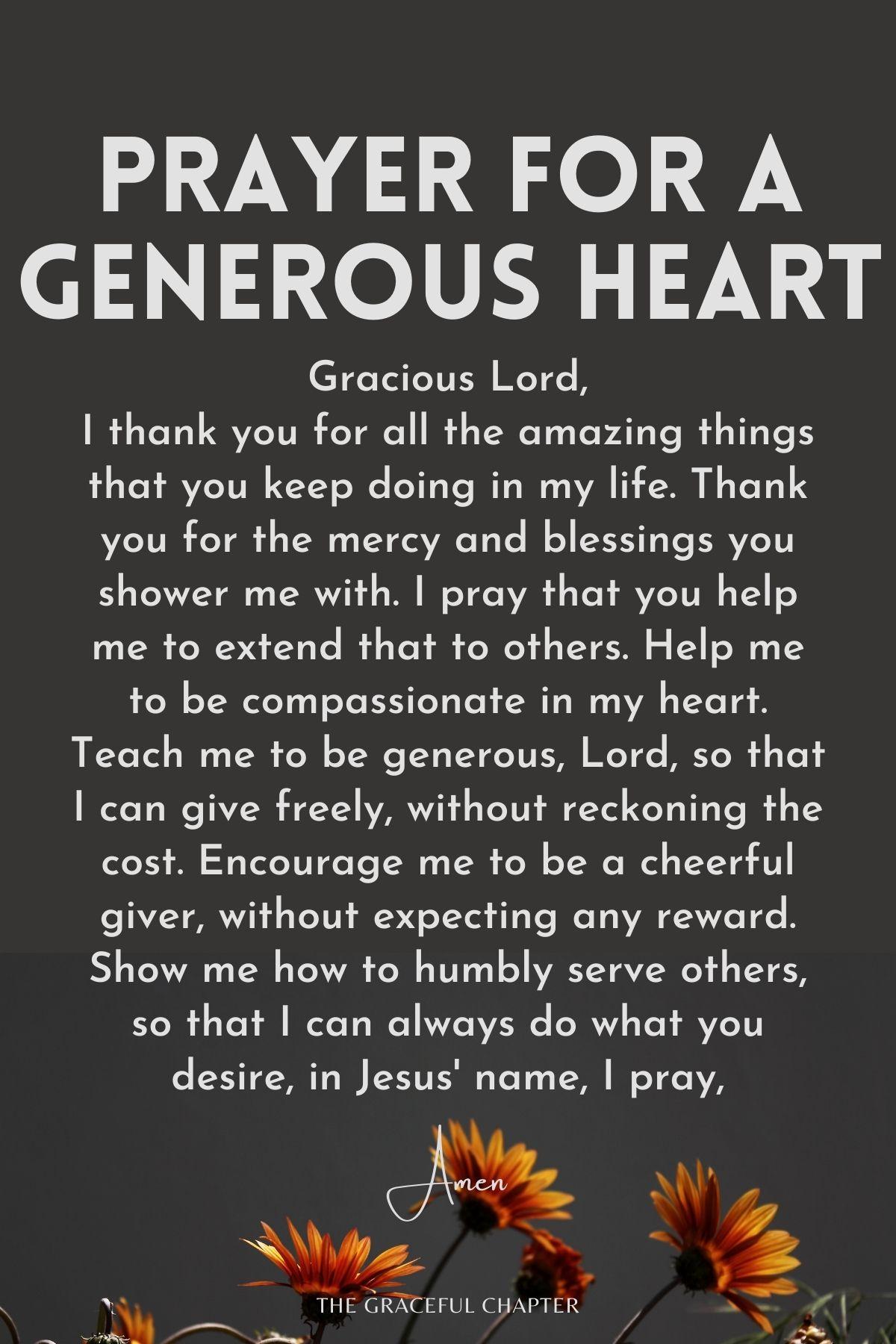 Prayer for a generous heart
