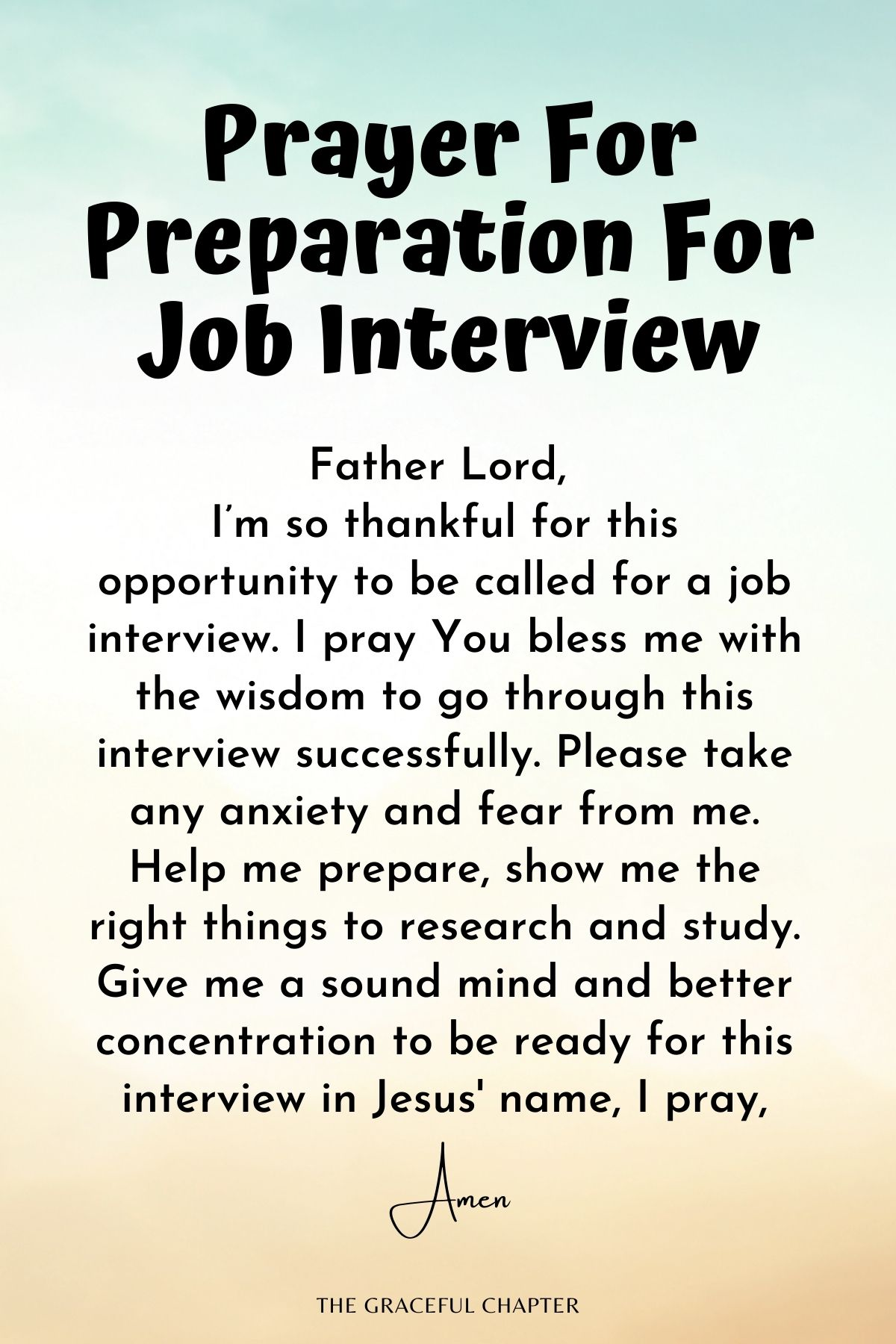 Prayer for preparation for a job interview