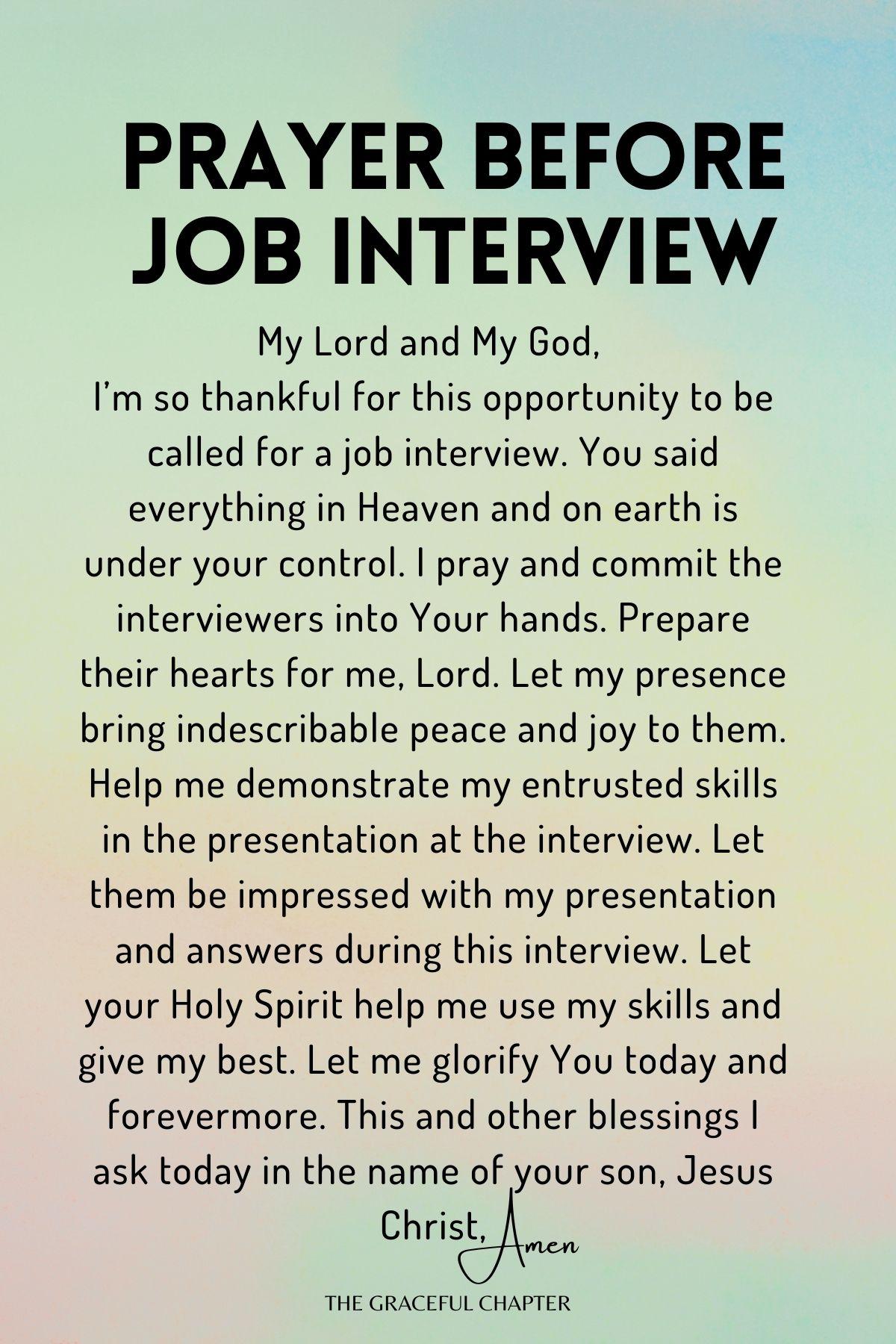 Prayer before job interview - prayers for job interview