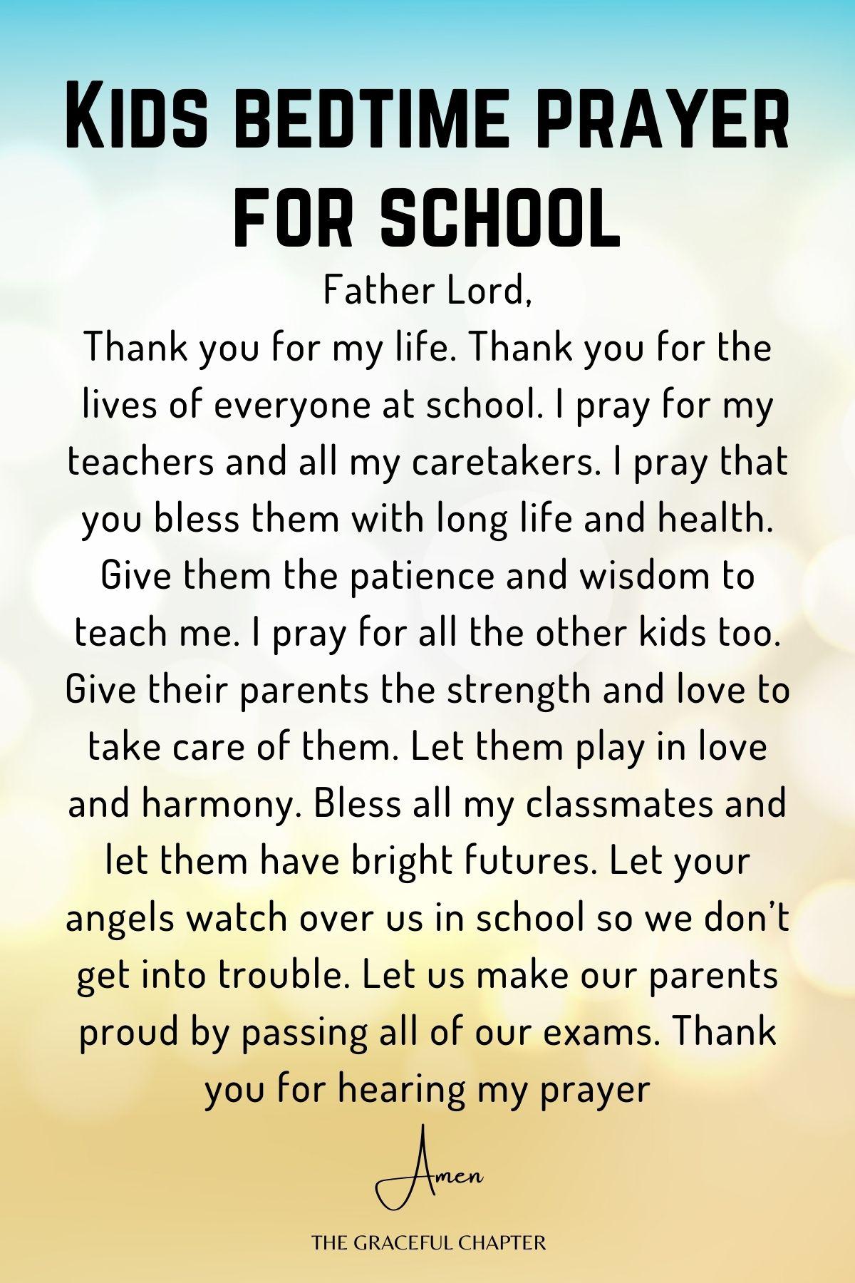 Kids bedtime prayer for school