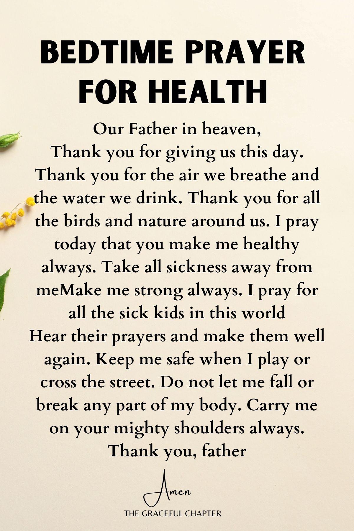Kids bedtime prayer for health