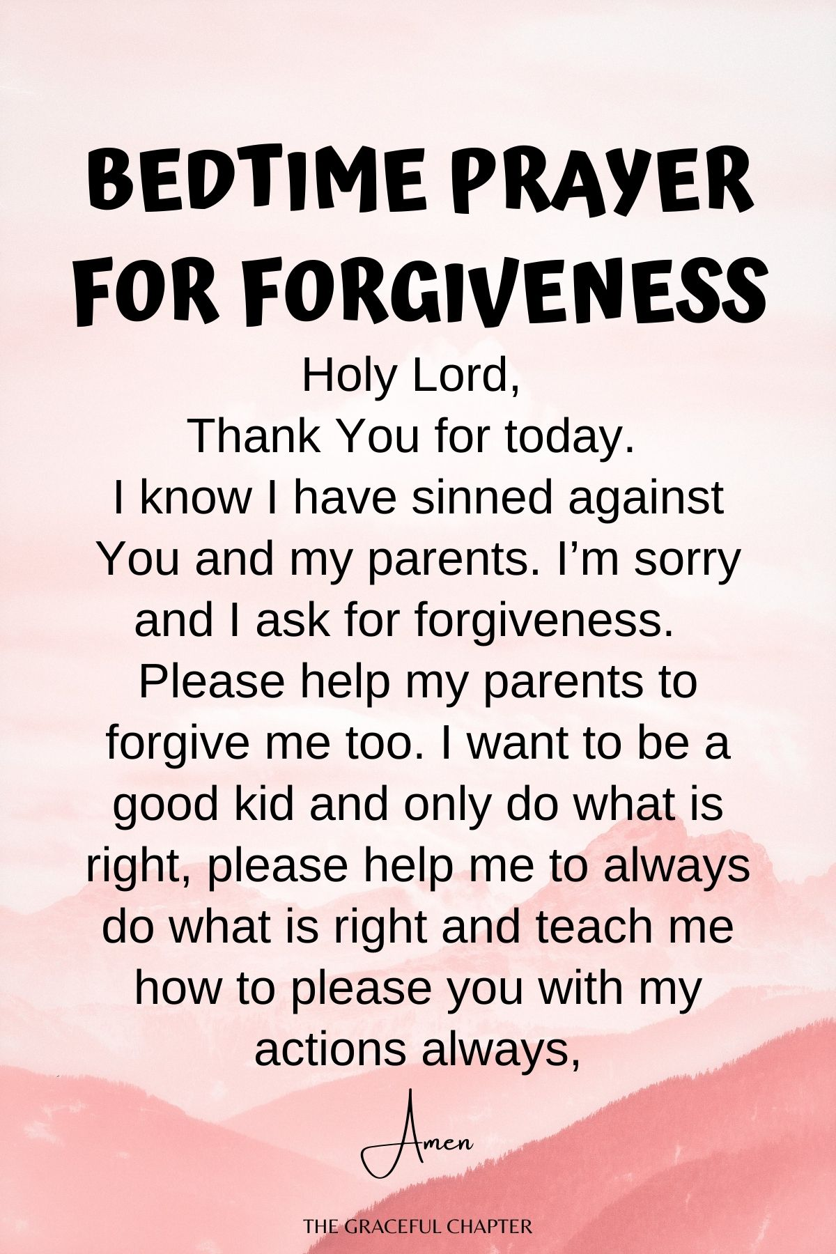Bedtime prayer for forgiveness