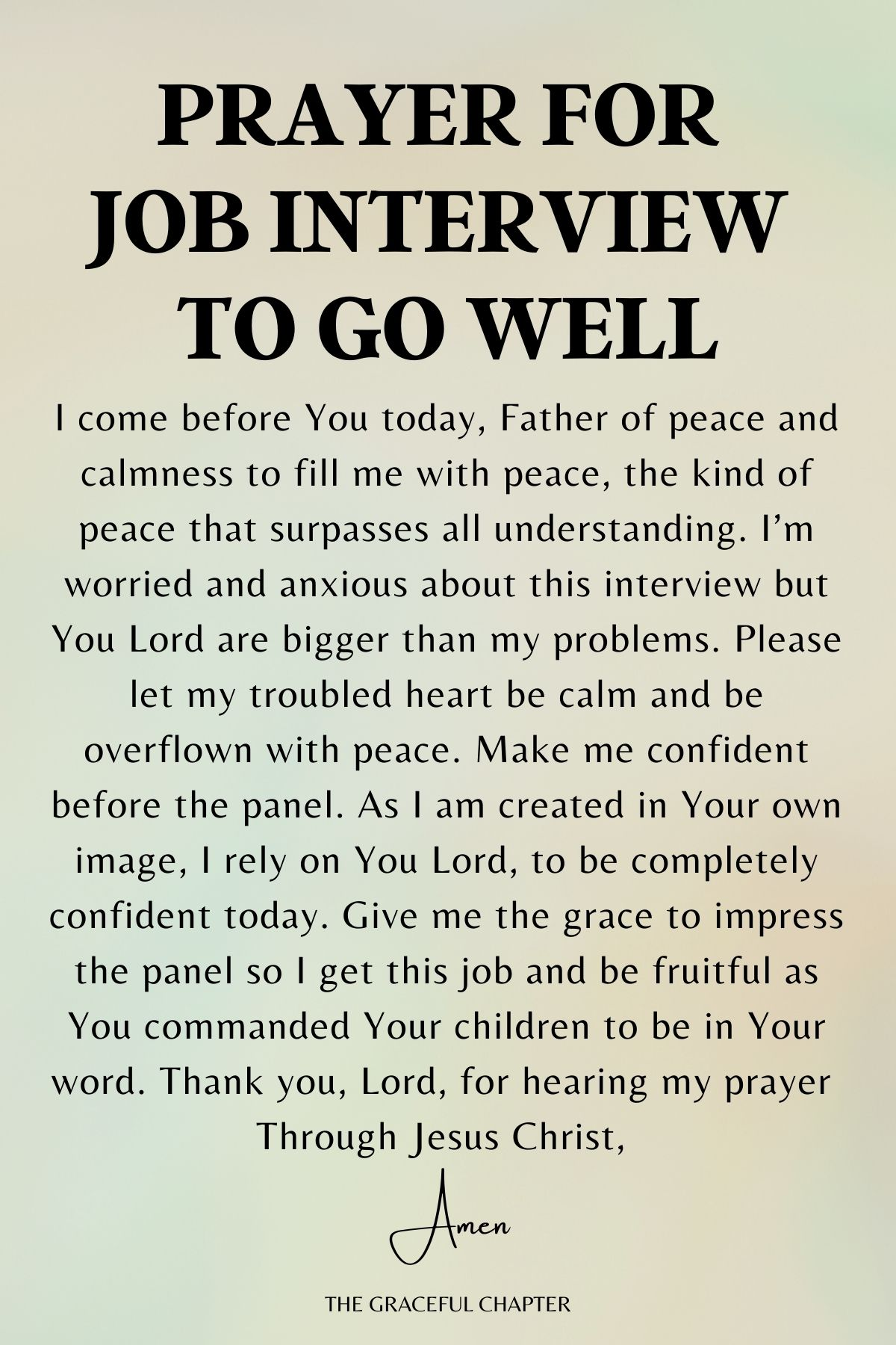 Prayer for job interview to go well