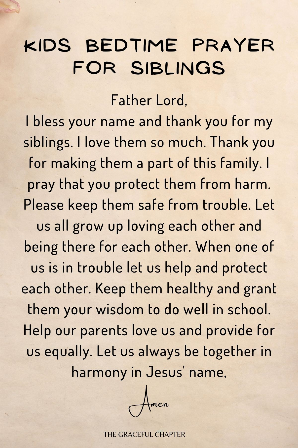 Kids bedtime prayer for siblings