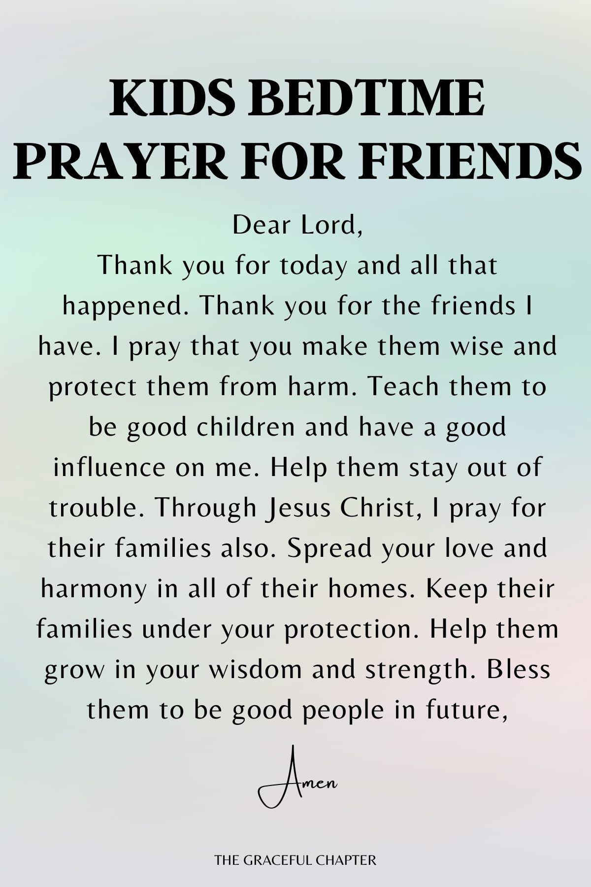 Kids bedtime prayer for friends