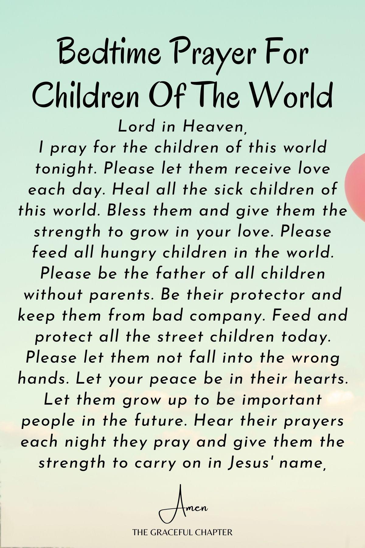 Kids bedtime prayer for family