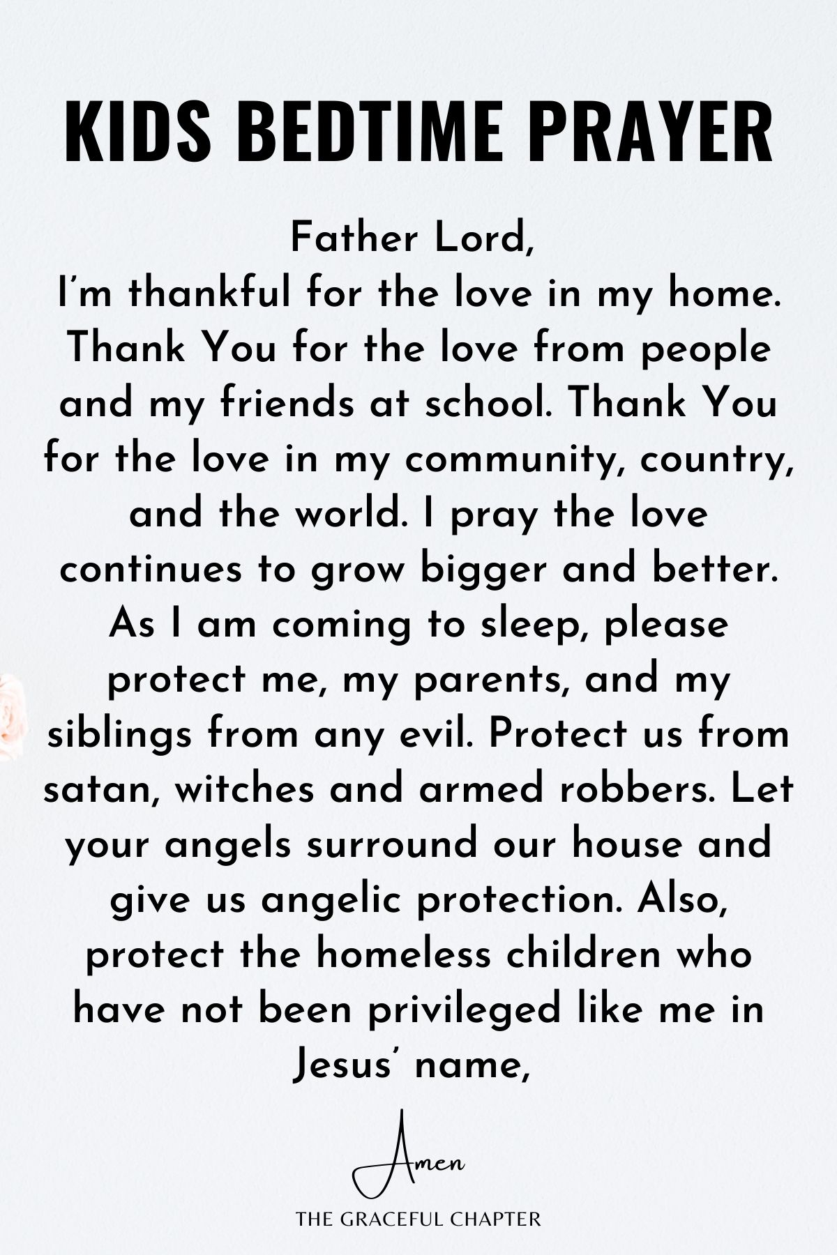 Bedtime Prayers - Please protect me