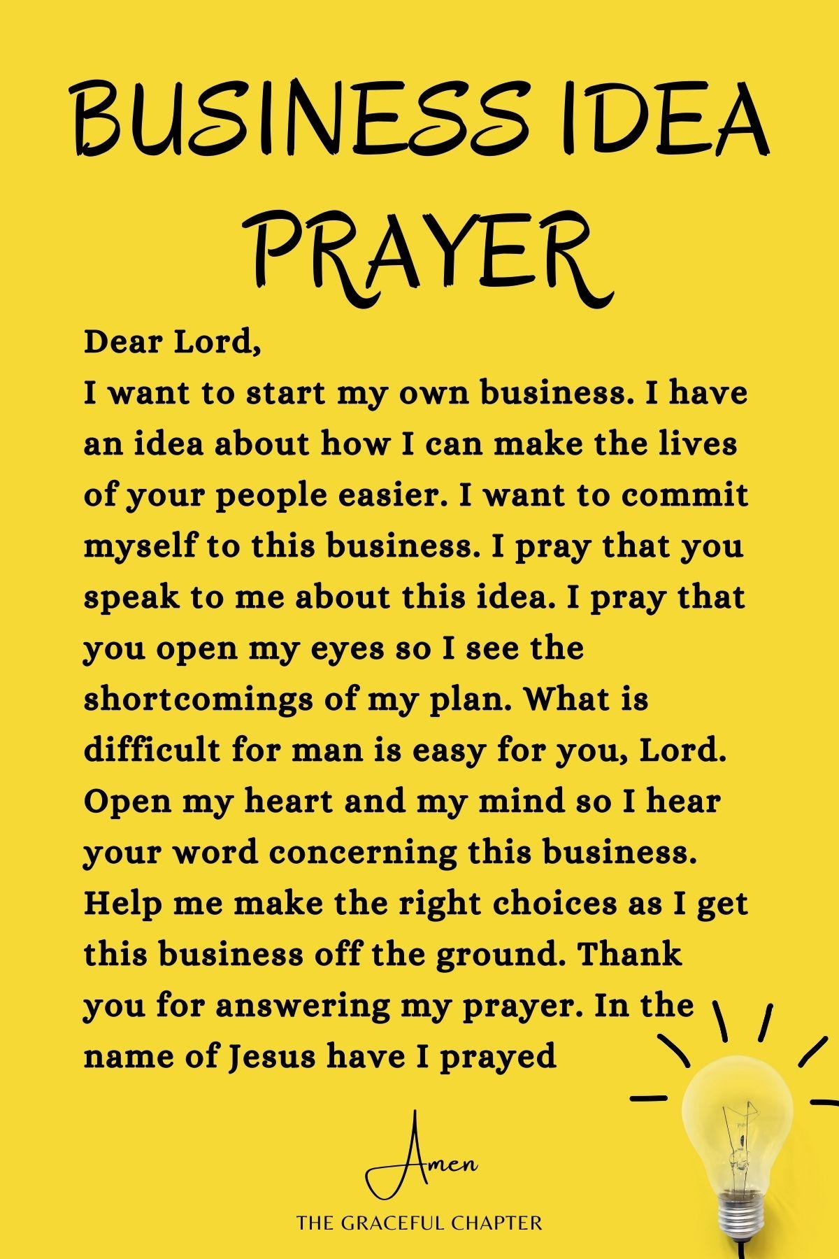 Business idea prayer