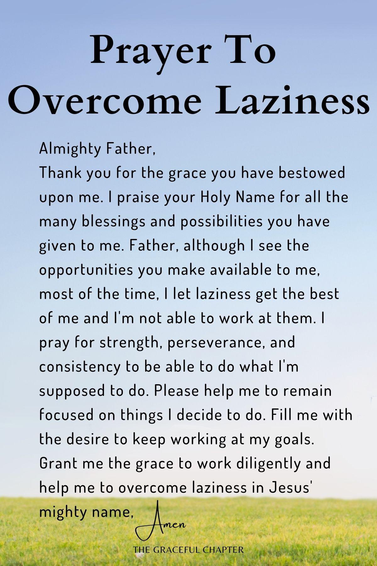 Prayer to overcome laziness
