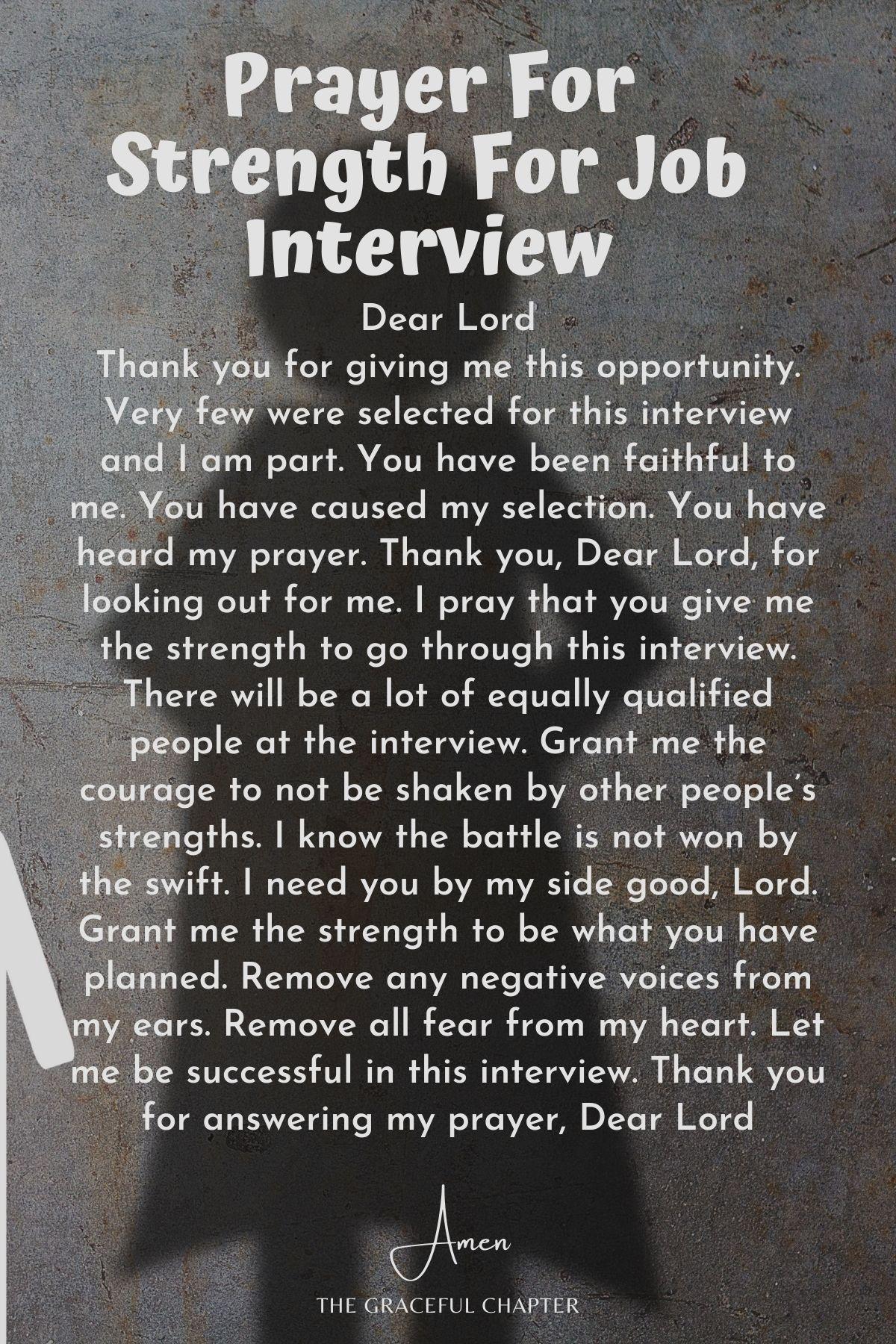 Prayer for strength for job interview