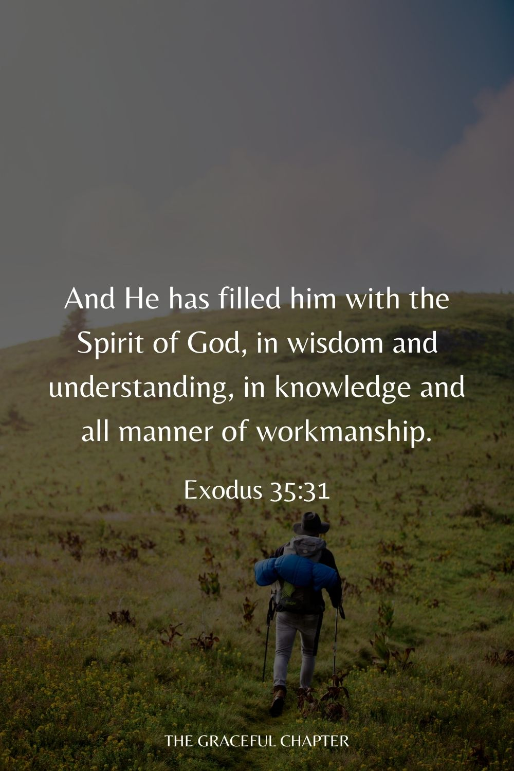 And He has filled him with the Spirit of God, in wisdom and understanding, in knowledge and all manner of workmanship. Exodus 35:31