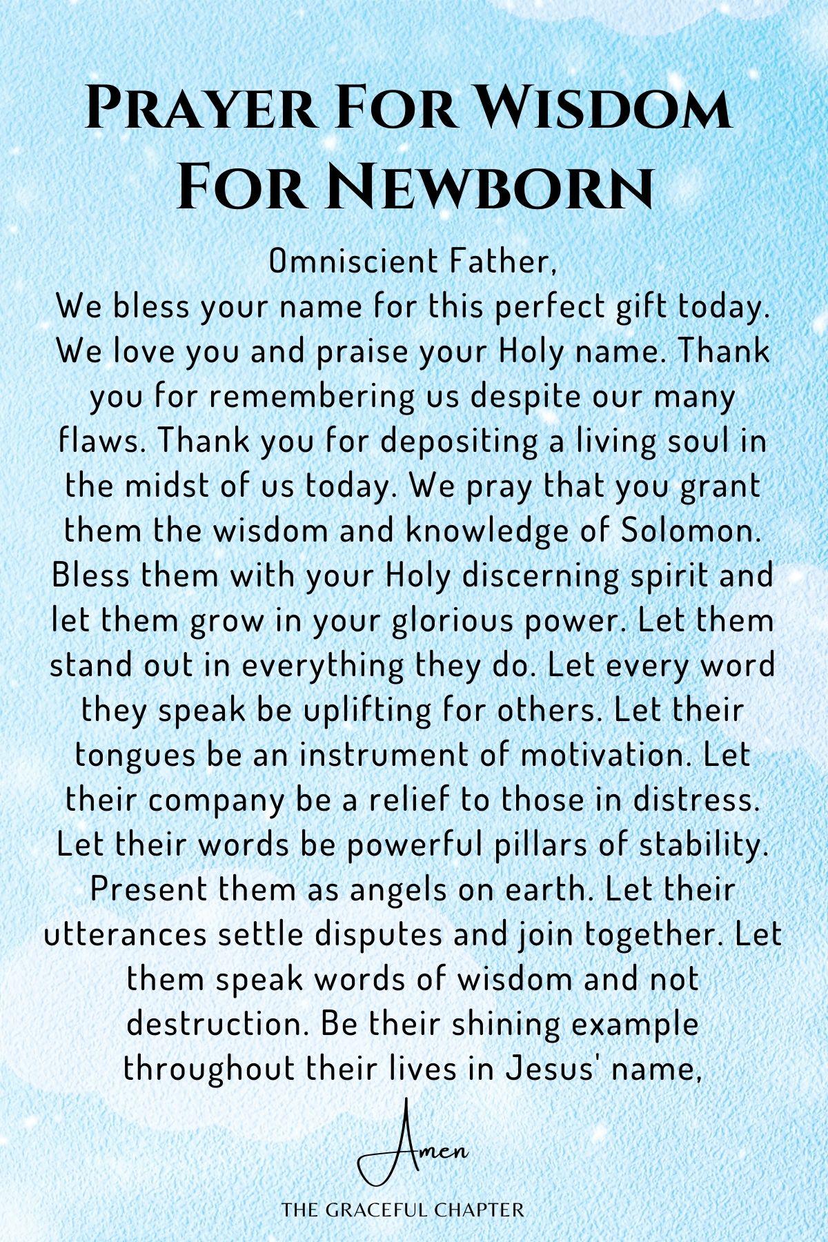 Prayer for Wisdom for Newborn