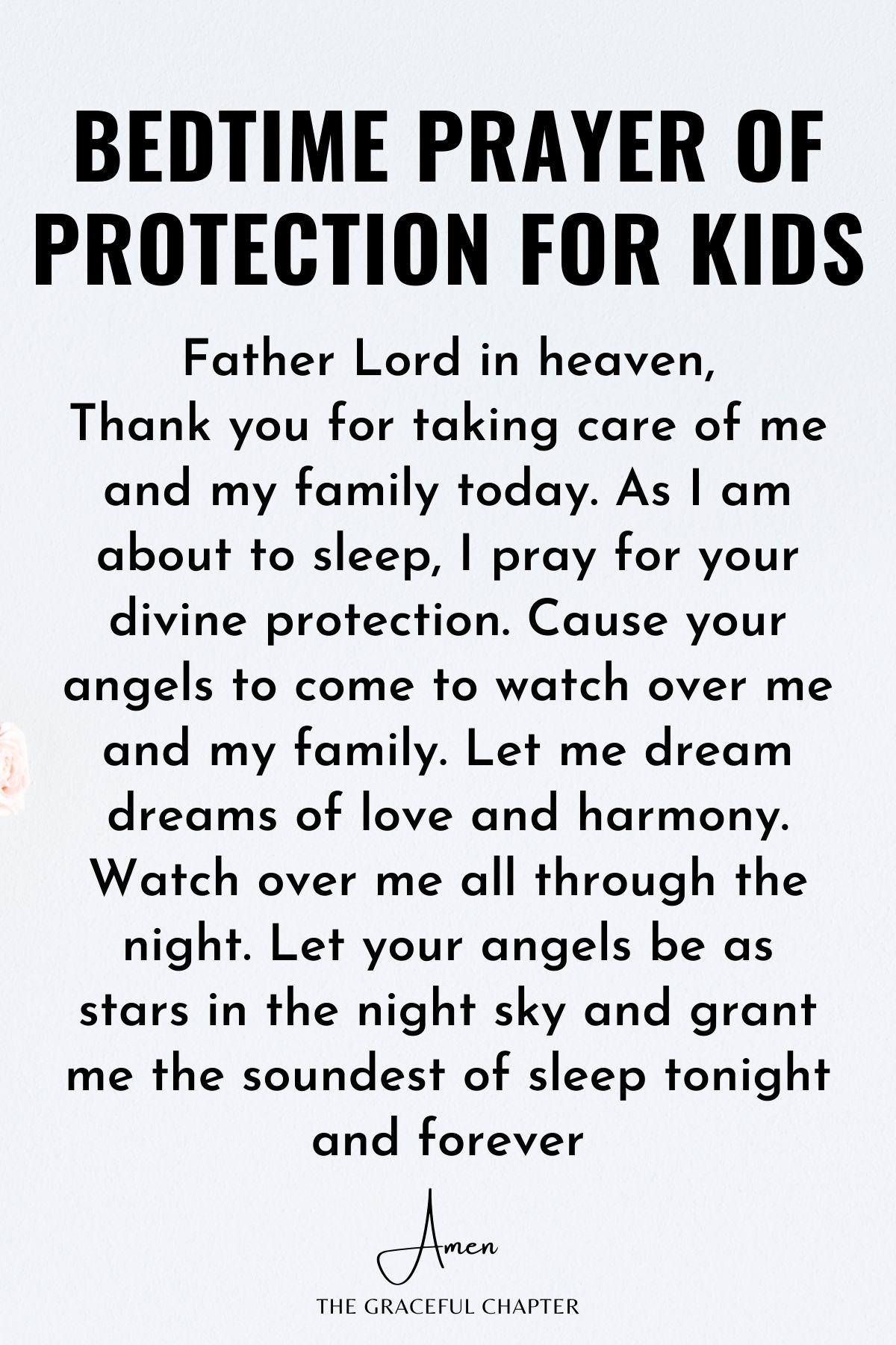 Bedtime prayer of protection for kids