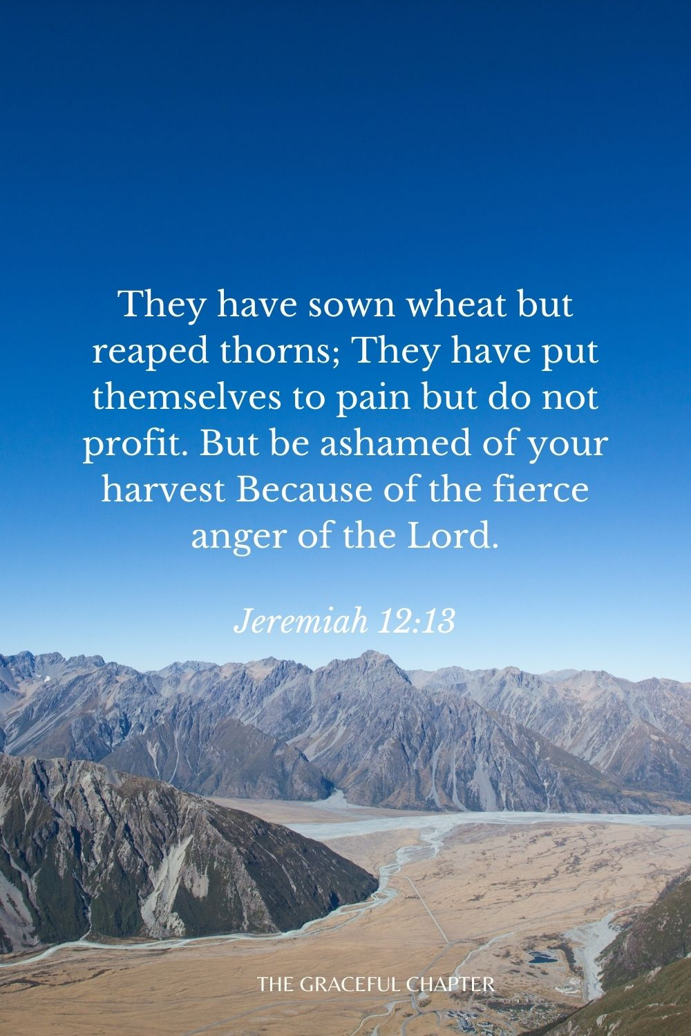 They have sown wheat but reaped thorns; They have put themselves to pain but do not profit. But be ashamed of your harvest Because of the fierce anger of the Lord. Jeremiah 12:13
