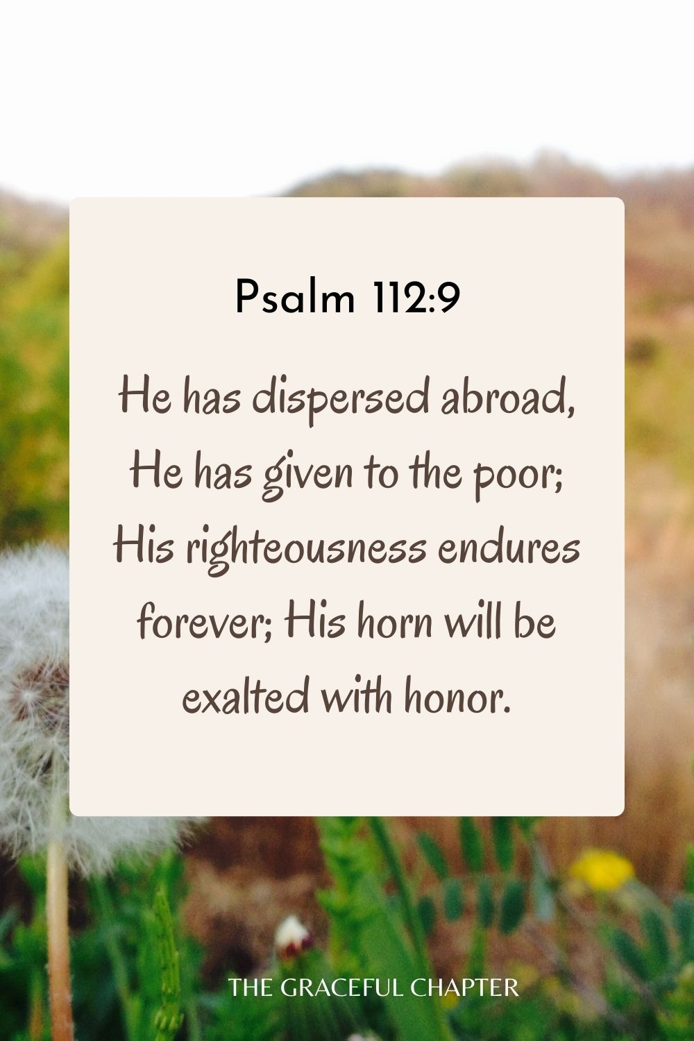 He has dispersed abroad, He has given to the poor; His righteousness endures forever; His horn will be exalted with honor. Psalm 112:9