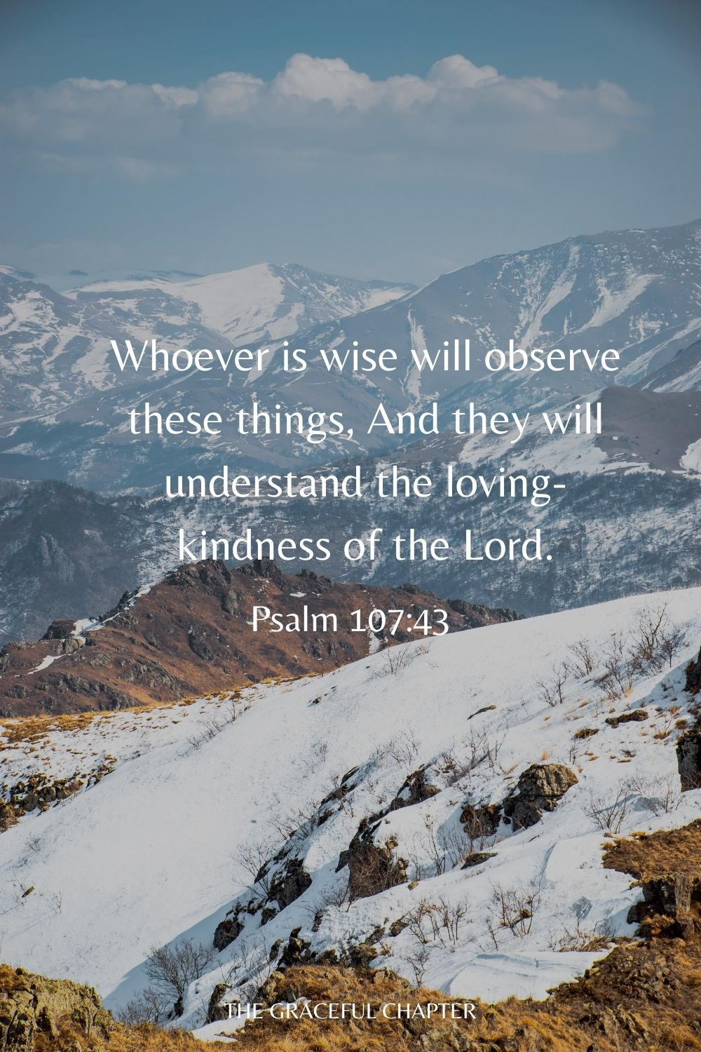 Whoever is wise will observe these things, And they will understand the loving-kindness of the Lord. Psalm 107:43