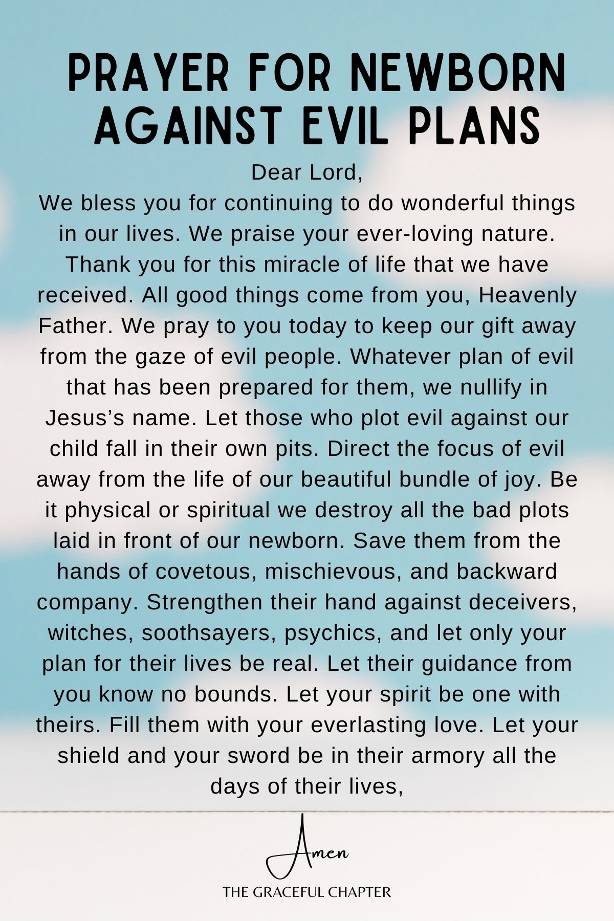 Prayers for newborn - against evil plans