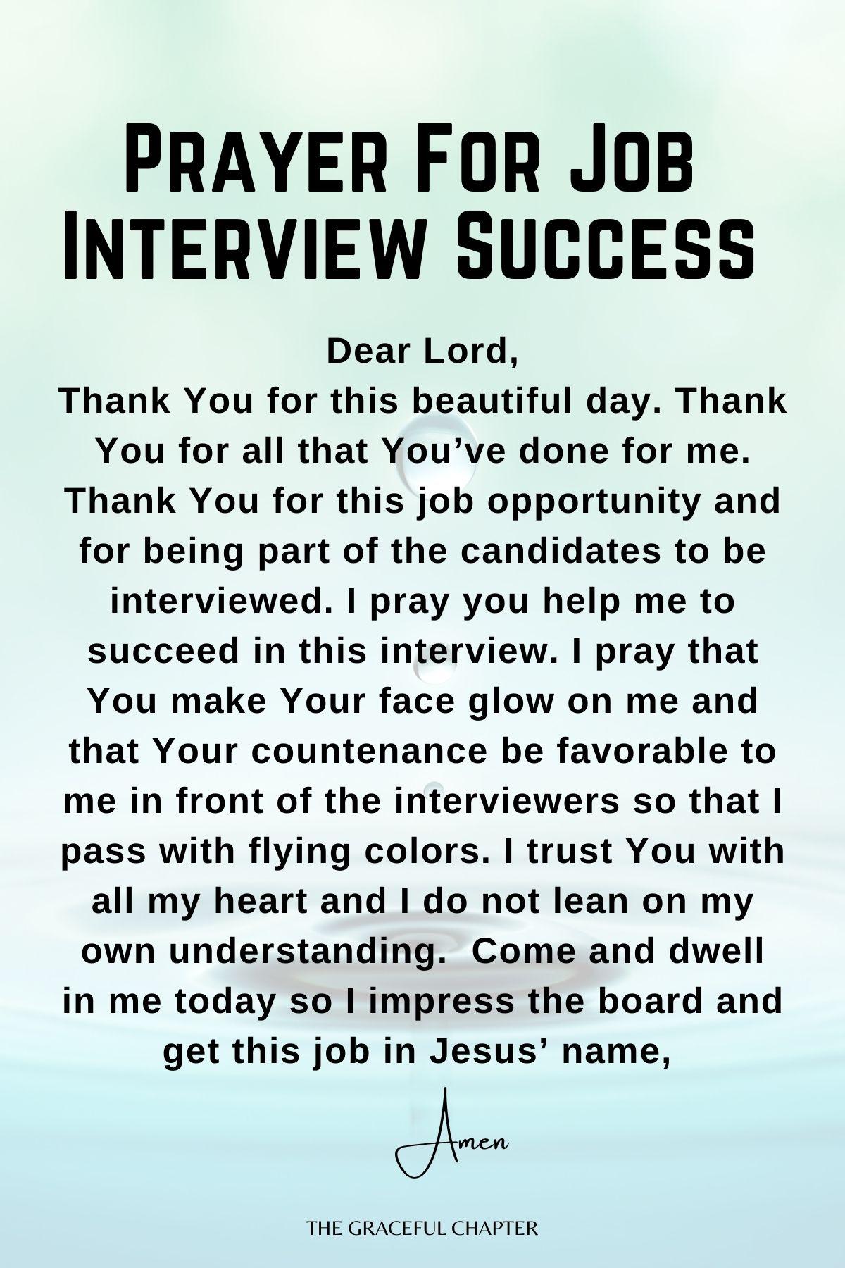 Prayer for job interview success