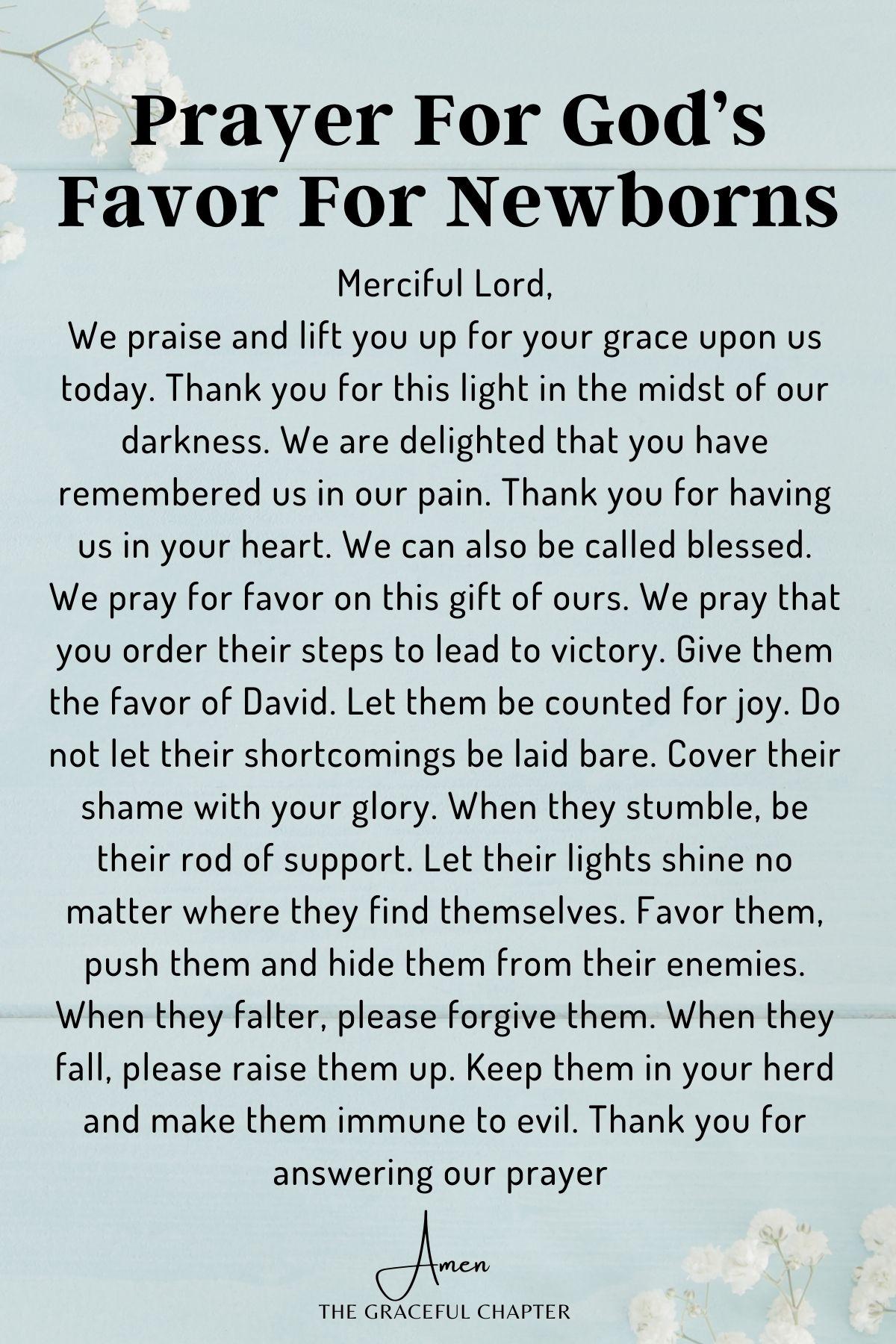 Prayer for God's favor for newborns - prayers for newborns