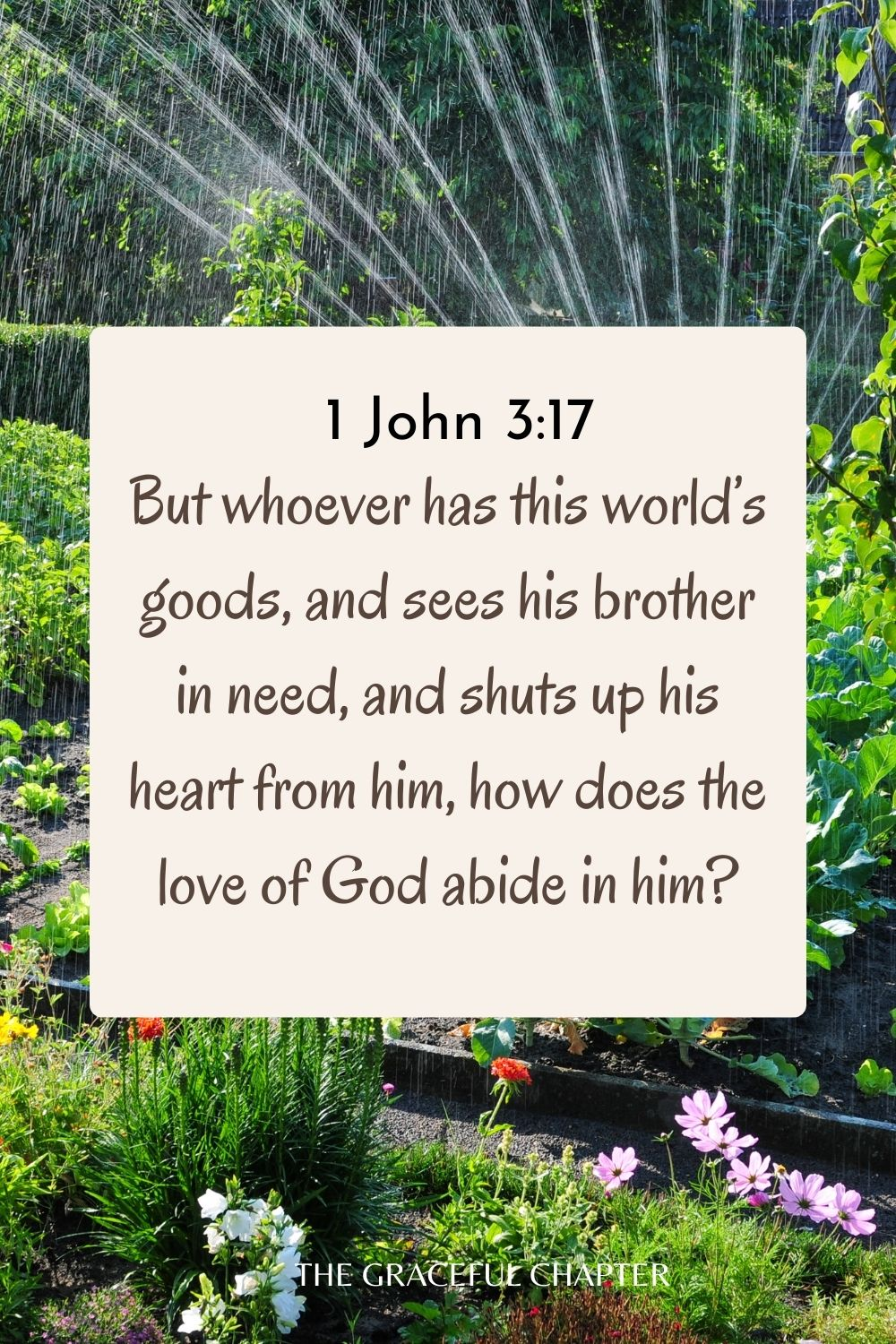But whoever has this world's goods, and sees his brother in need, and shuts up his heart from him, how does the love of God abide in him? 1 John 3:17