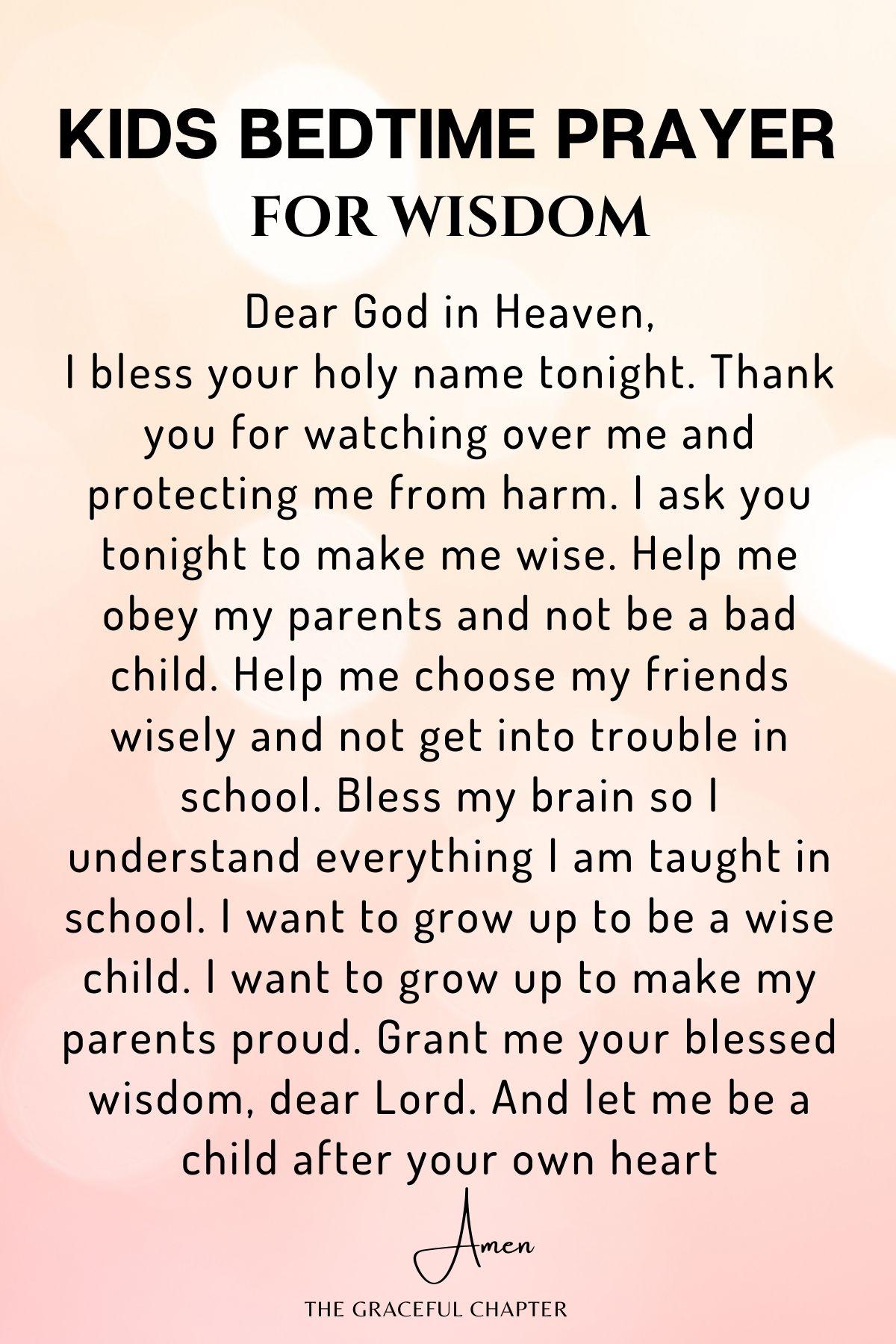 bedtime prayer for kids