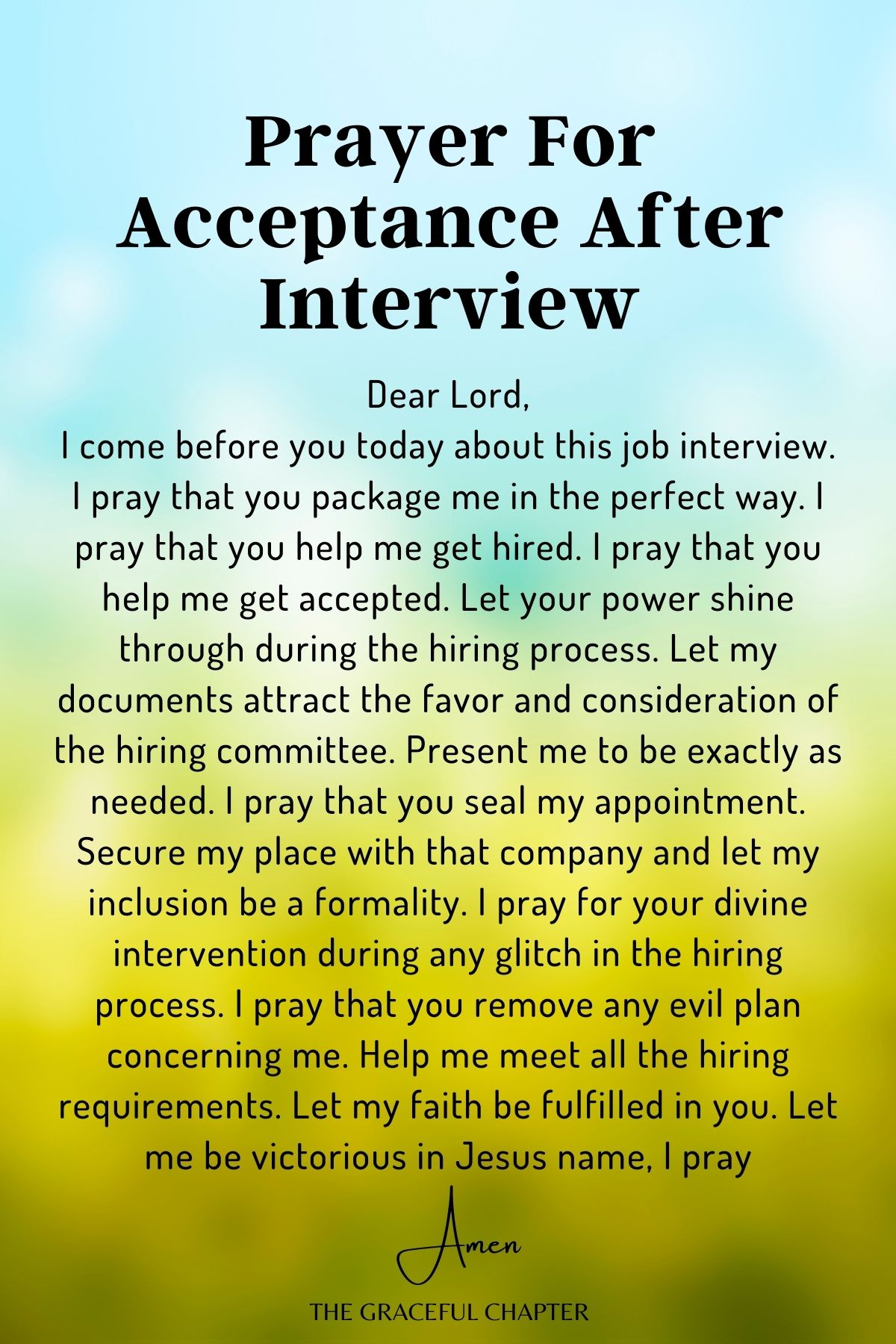 Prayer for acceptance after Interview