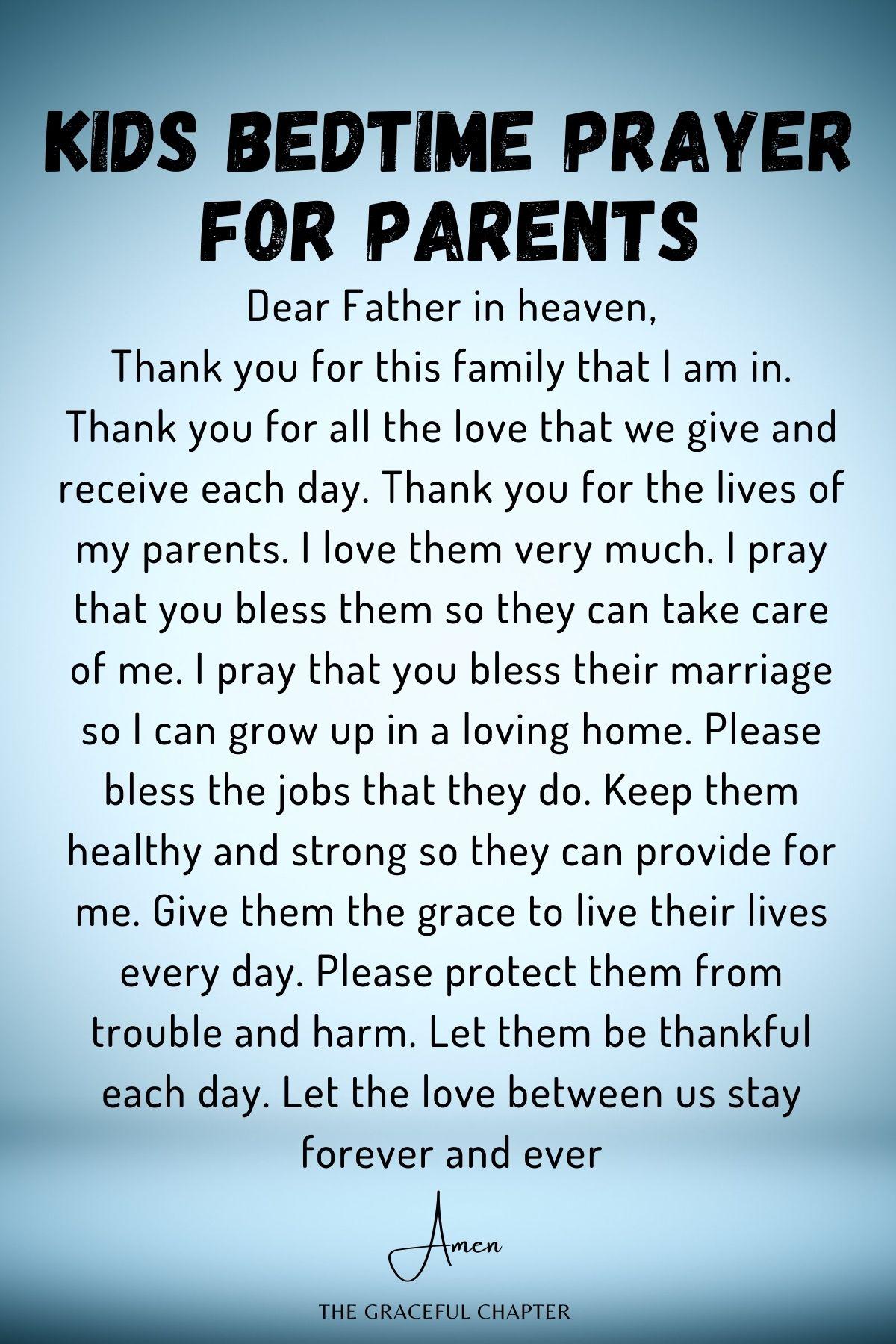 Kids bedtime prayer for parents