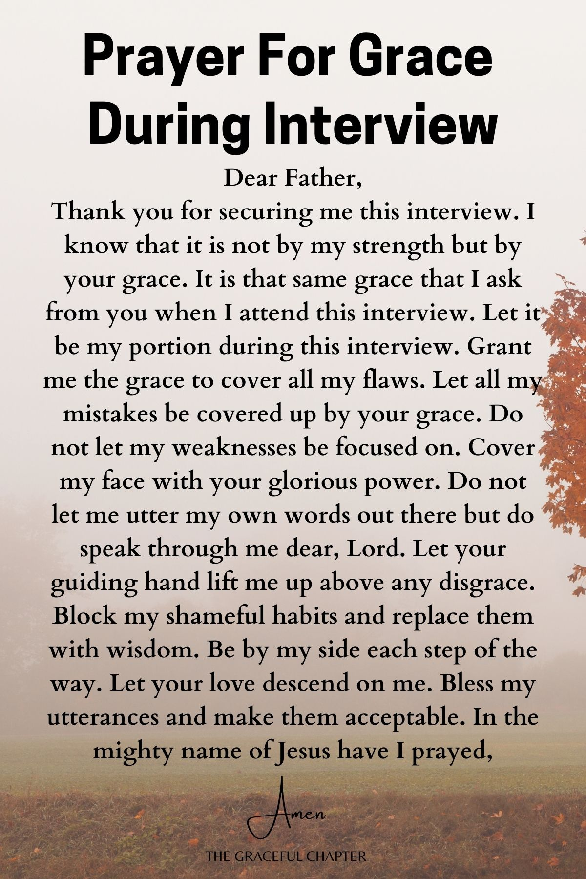 Prayer for grace during interview -prayers for job interview