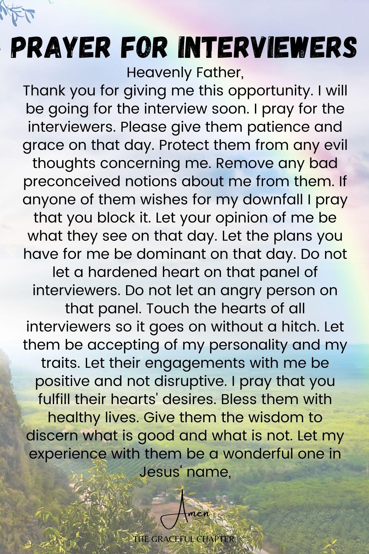 Prayer for interviewers - prayers for job interview