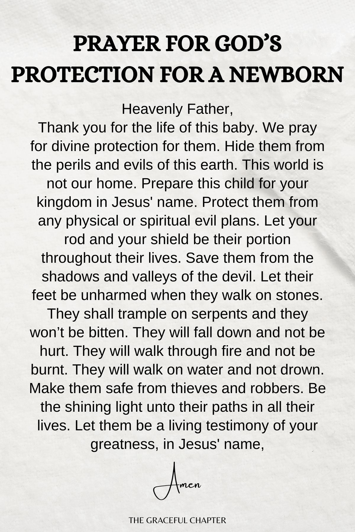 Prayer for God's protection for a Newborn