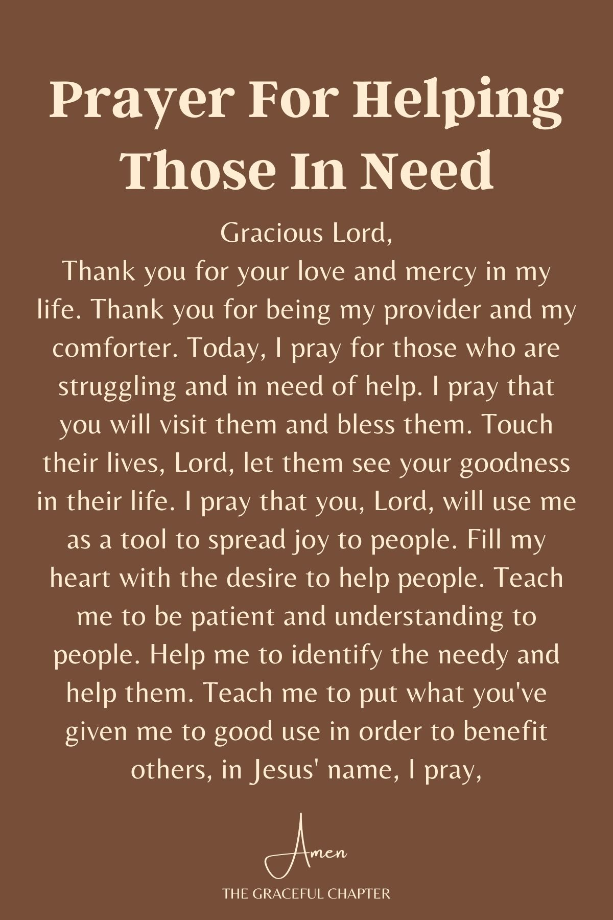 Prayer for helping those in need