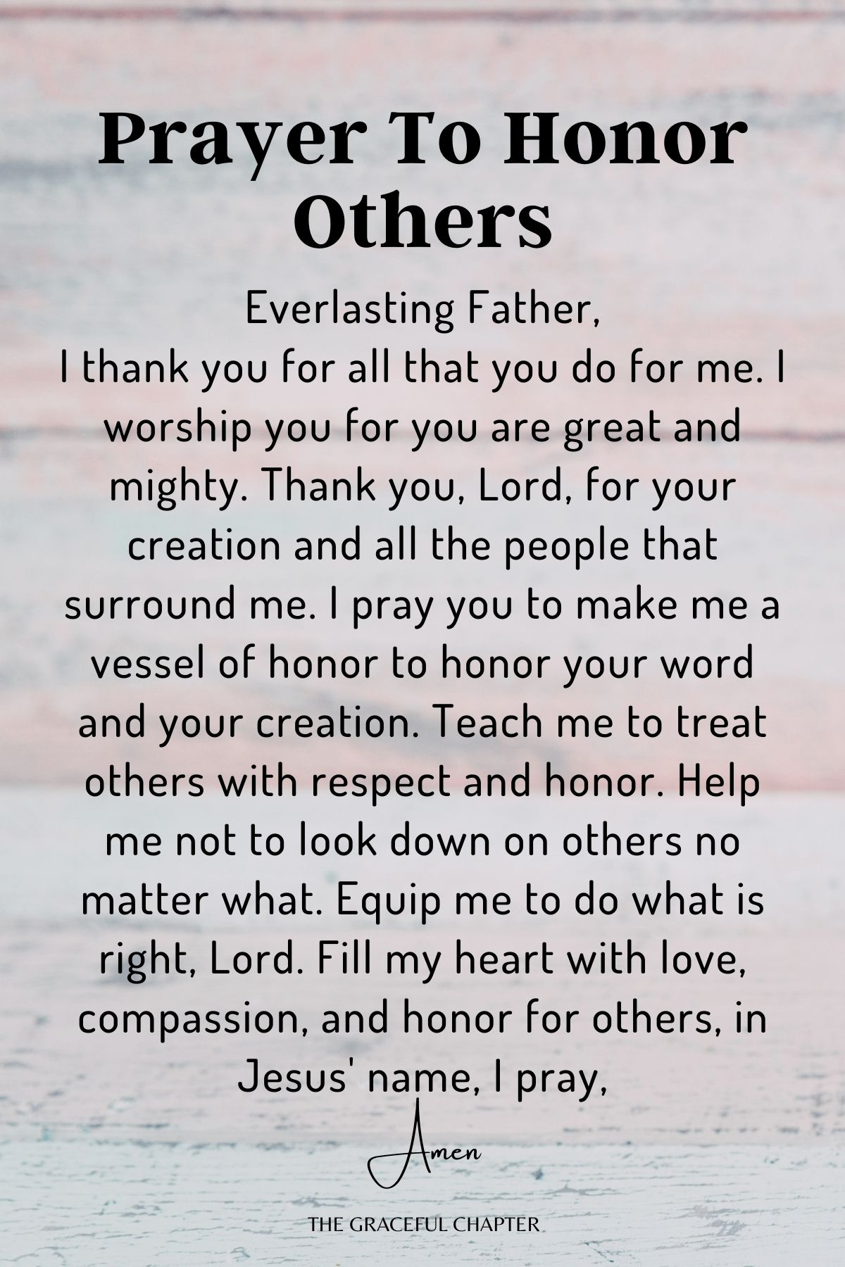 Prayer to honor others